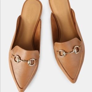 Tan slip-on mules!